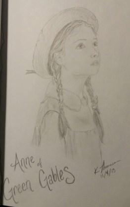 Anne of Green Gables Portrait, Pencil on Paper, 4 November 2013