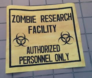 My school's psychology department did a zombie run to raise money, and I volunteered to help. I was asked to make signs to post around the path of the run.