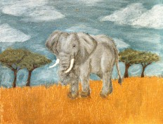 African Elephant, Acrylic Paint on Canvas, Date Unknown