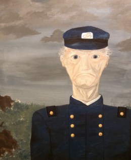 """This portrait I painted was for the show """"The Butler Did It."""" I was actually in this play in the role of Charity Haze! We needed a creepy, weird portrait to hang on the back wall over the fireplace. So, I painted this!"""