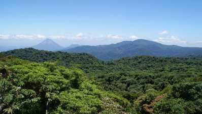 View of Arenal Volcano from Santa Elena Cloud Forest Reserve.