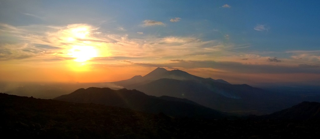 Sunset behind San Cristabol Volcano, taken from Telica Volcano
