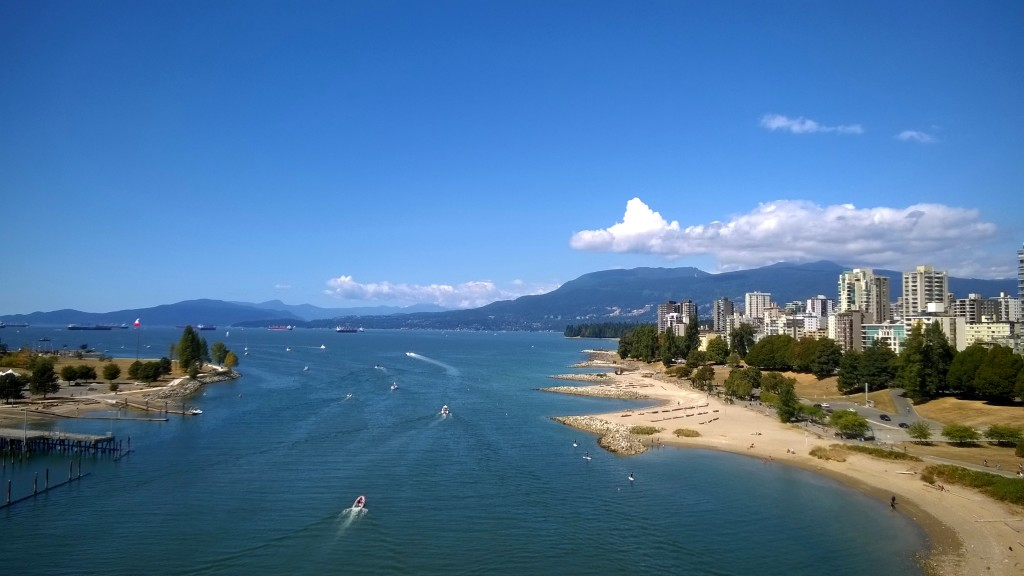 View of English bay from the Burrard St Bridge.