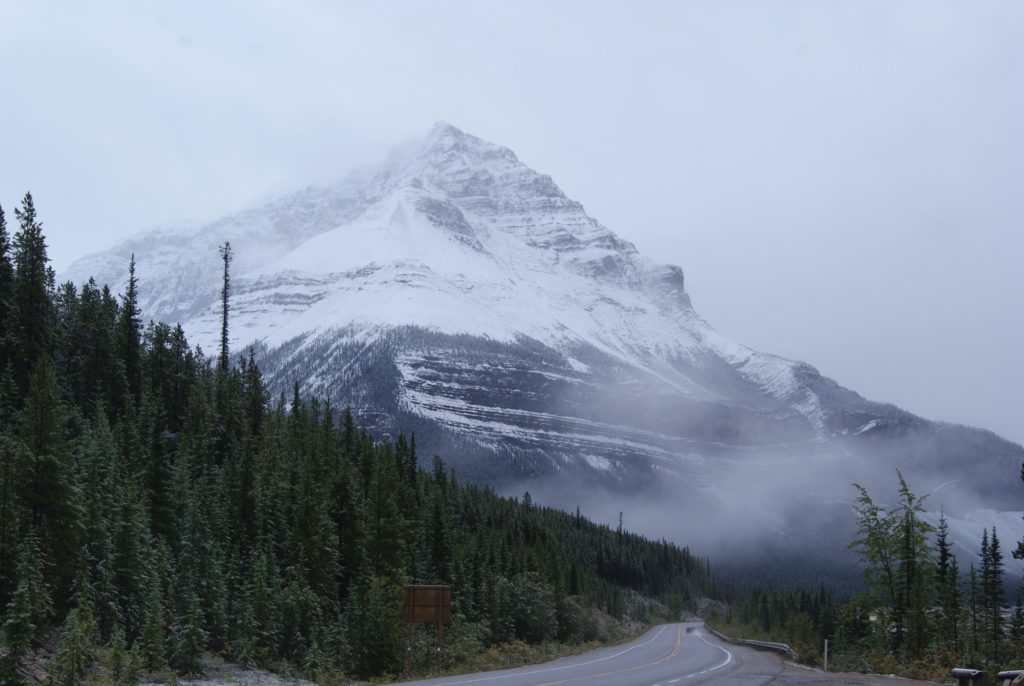 Icefields Parkway covered in snow.