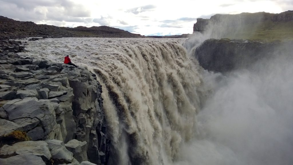 K enjoying the mighty Dettifoss without crowds.