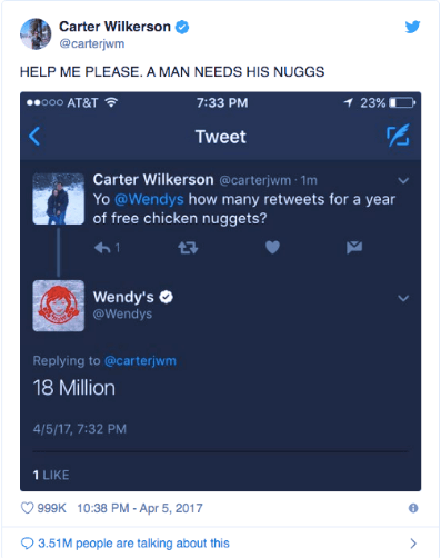 Carter Wilkerson and Wendys Tweet, Word of Mouth Advertising | ADventure Marketing Digital Marketing Agency Tampa