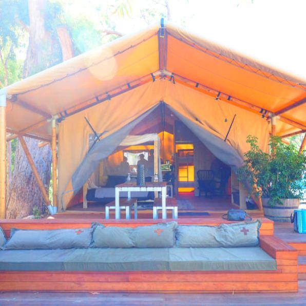 Front of Safari Tent at Halls Gap Tourist Park