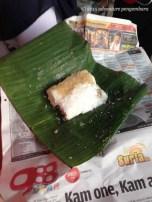 Putu Bambu. Rice powder steamed in a bamboo tube, filled with brown sugar. So tasty!