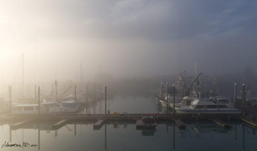 Valdez harbor in a foggy morning, Alaska, USA