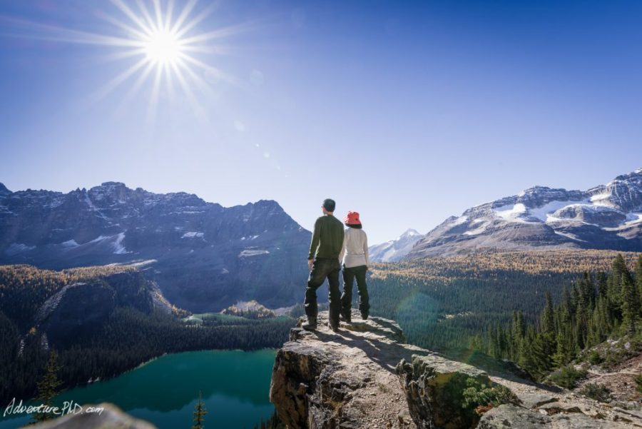 Under the sun flare, Alpine circuit trail, Yoho National Park