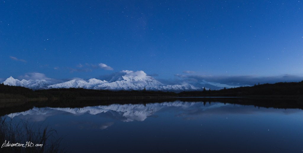 Mount. Denali at night, viewed from the Reflection Pond