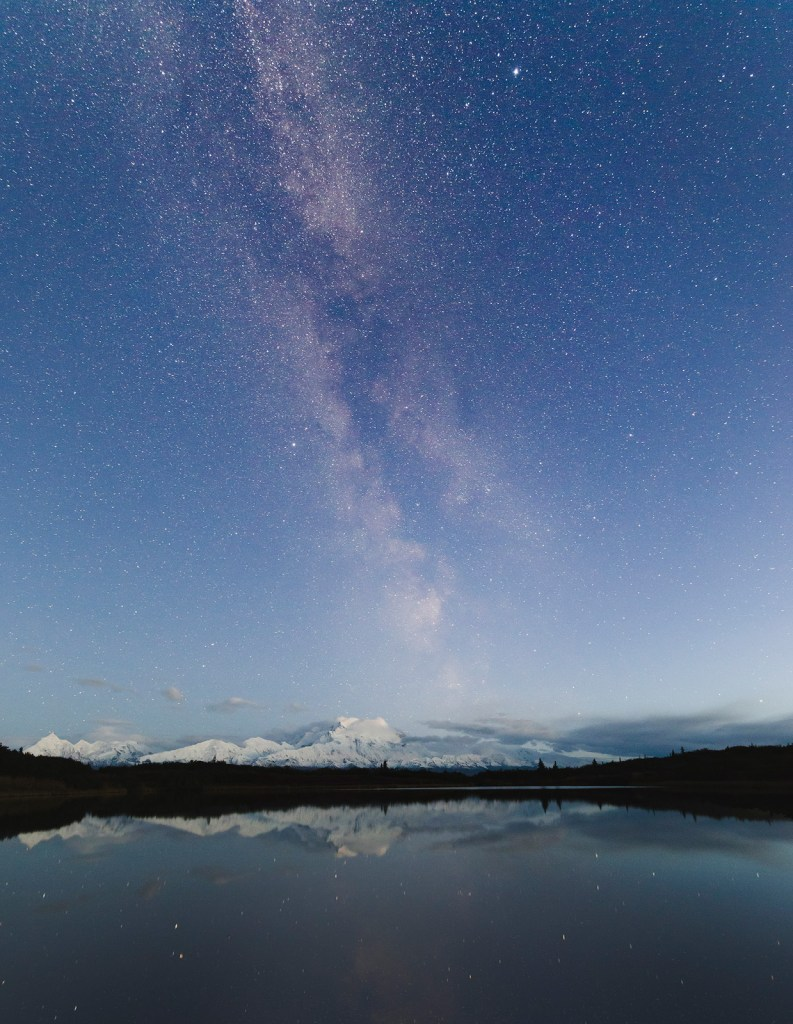 Milky way rising over Mount. Denali, viewed from the Reflection Pond