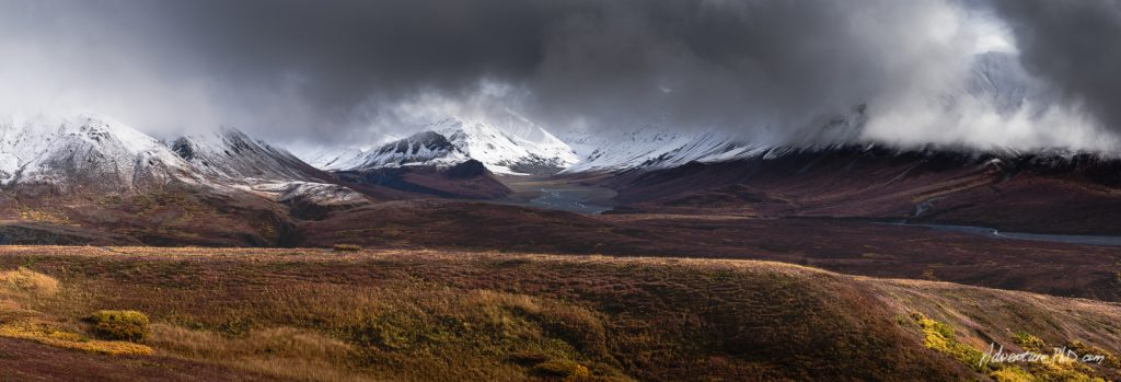 Panoramic view of the landscape outside of the Eielson Visitor Center, Denali National Park, Alaska, USA