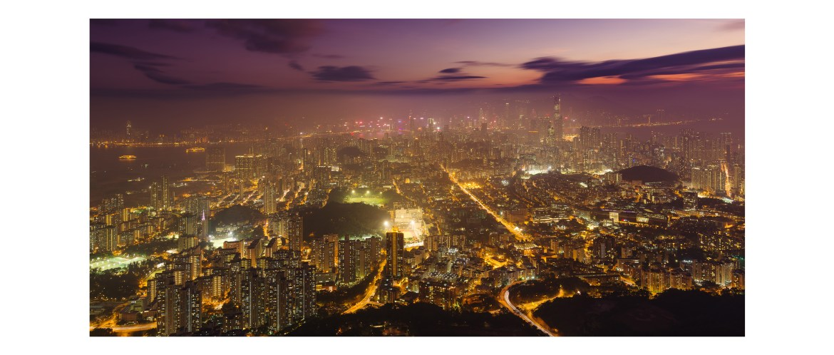 Kowloon city view at night from Lion Rock