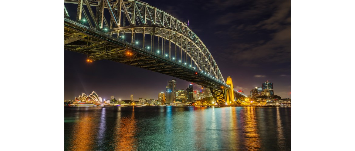 Sydney night cityscape from the Luna Park