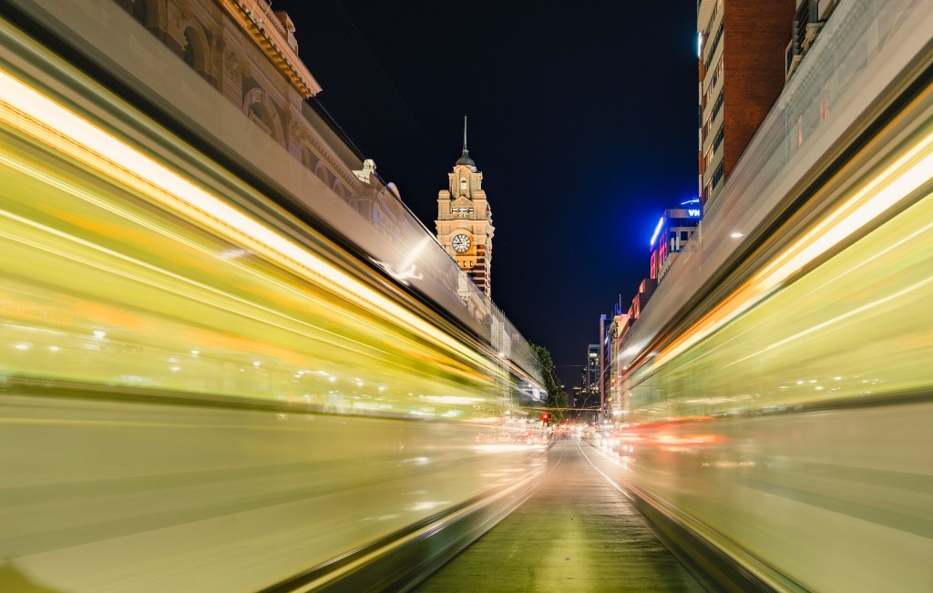Flinders Street night traffic