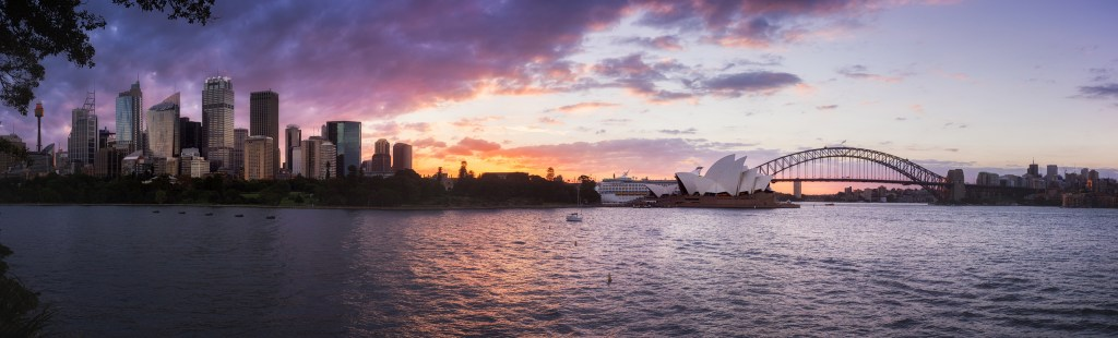 Sunset skyline view of Sydney
