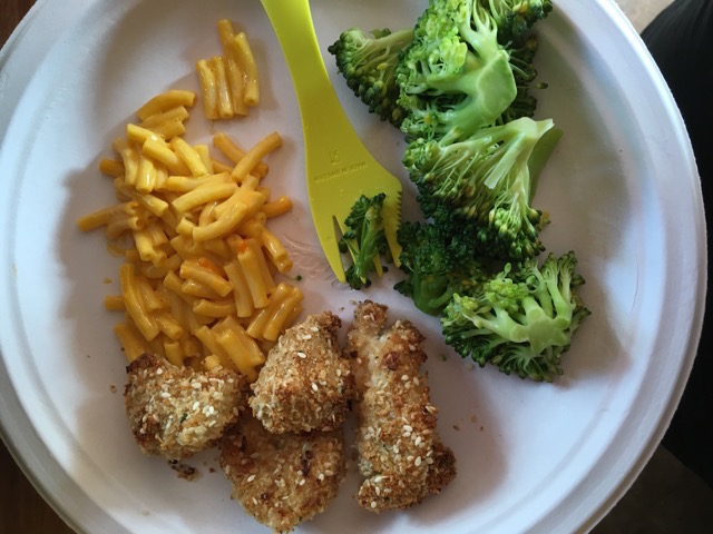 Homemade Chicken Nuggets, Mac and Cheese, Broccoli.