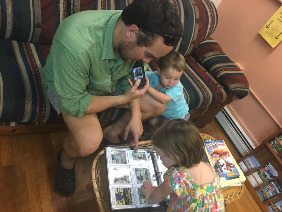 Showing Jane and Wilson my photo in the Appalachian Trail thru-hiker records at the ATC in Harpers Ferry.