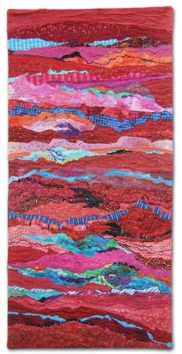 Red Strata, an art quilt made by Ellen Lindner. AdventureQuilter.com