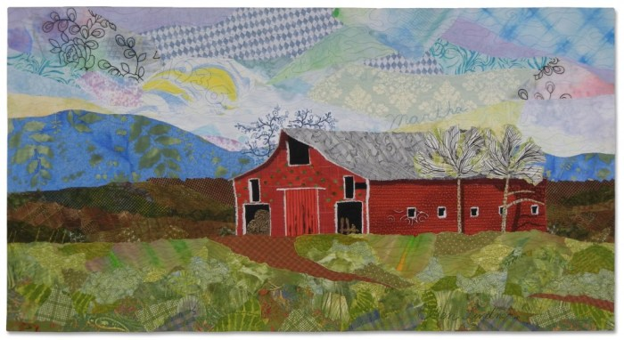 Barn #8536, an art quilt by Ellen Lindner. AdventureQuilter.com