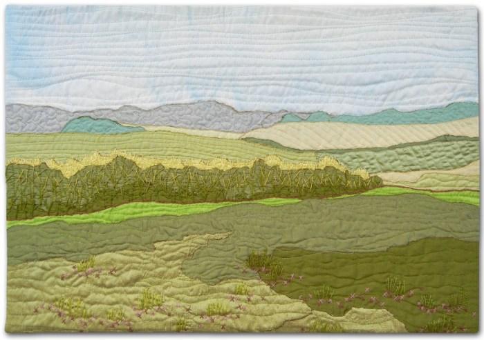 Summer Fields, an art quilt by Ellen Lindner. AdventureQuilter.com