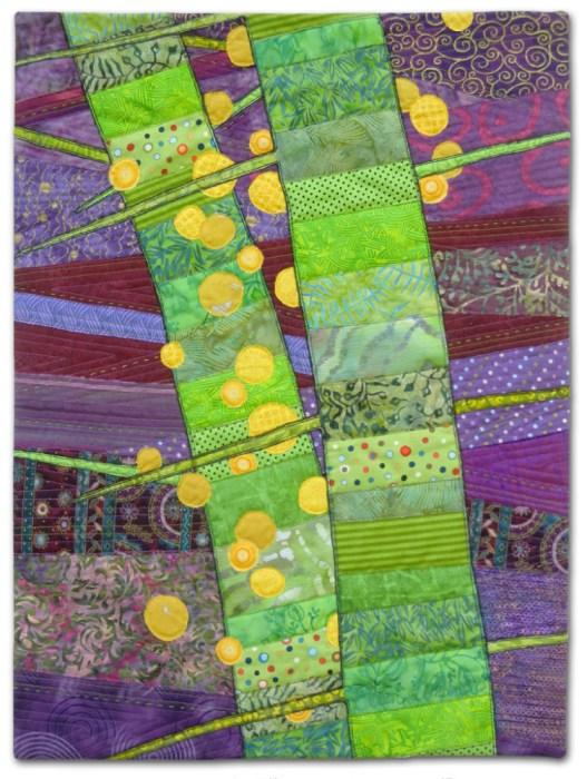 Thorns and Berries, an art quilt by Ellen Lindner. AdventureQuilter.com
