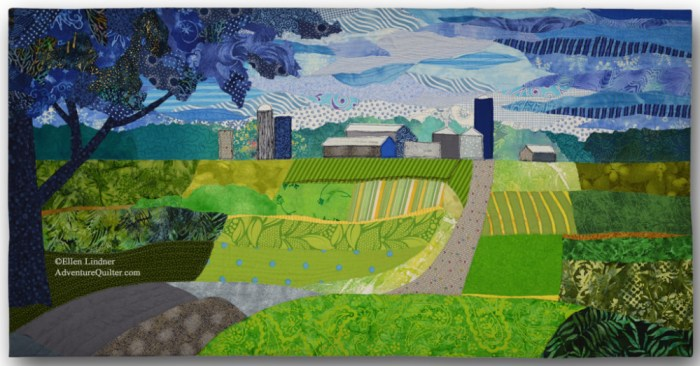 Oak Green Farm, an art quilt by Ellen Lindner. AdventureQuilter.com