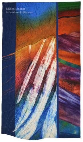 Lava to the Sea, an art quilt by Ellen Lindner. AdventureQuilter.com/blog