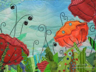 Garden Party - detail, a fabric collage by Ellen Lindner. AdventureQuilter.com