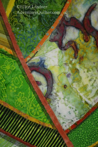 Florida Native #1 - detail, an art quilt by Ellen Lindner. AdventureQuilter.com