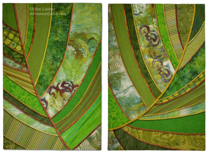 Florida Native #1 & #2, art quilts by Ellen Lindner. AdventureQuilter.com