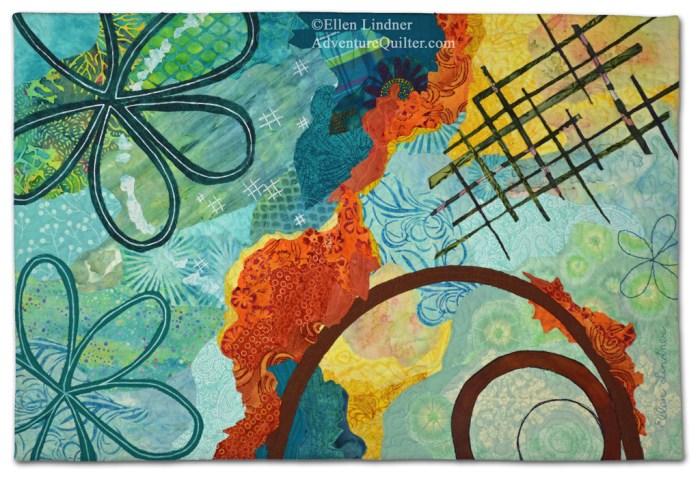 Brainstorm, an art quilt by Ellen Lindner. AdventureQuilter.com/blog