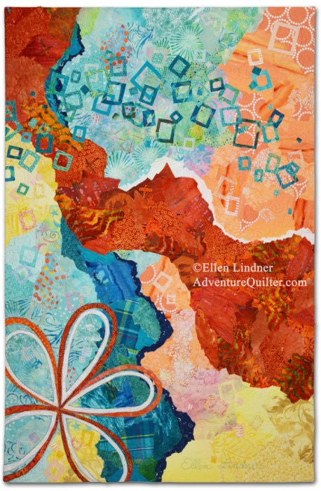 Second Thoughts, an art quilt by Ellen Lindner. AdventureQuilter.com