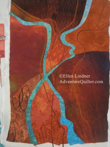 Abstract art quilt in progress. Ellen Lindner, AdventureQuilter.com/blog