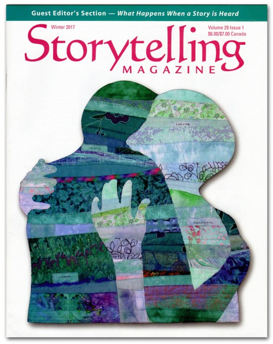 Ellen Lindner's art quilt on the cover of Storytelling Magazine. AdventureQuilter.com/blog