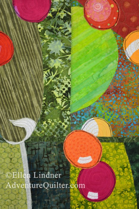 Bush Berries - detail, an art quilt by Ellen Lindner. AdventureQuilter.com