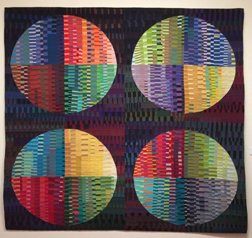 """Circular Abstractions"" Exhibit. Ellen Lindner, AdventureQuilter.com/blog"