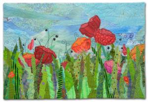 Garden Party, a small art quilt by Ellen Lindner. AdventureQuilter.com