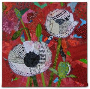 White Poppies, an art quilt by Ellen Lindner. AdventureQuilter.com