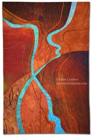 Deliberation, an art quilt by Ellen Lindner. AdventureQuilter.com