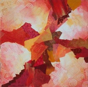 Cruciform #2, a fabric collage by Ellen Lindner. AdventuerQuilter.com