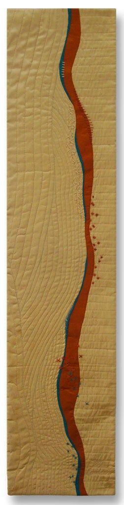 Sketching with Silk #1, an art quilt by Ellen Lindner. AdventureQuilter.com
