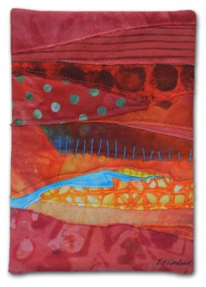 A tiny little fabric collage by Ellen Lindner. AdventureQuilter.com