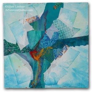 Cruciform #1, a fabric collage by Ellen Lindner