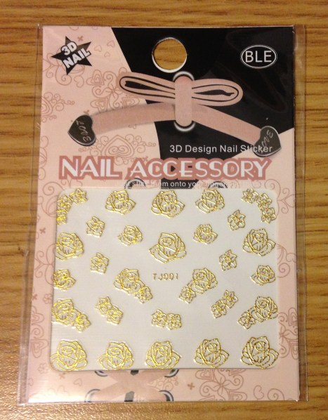 Gold 3D Nail Art Stickers | Rose Design