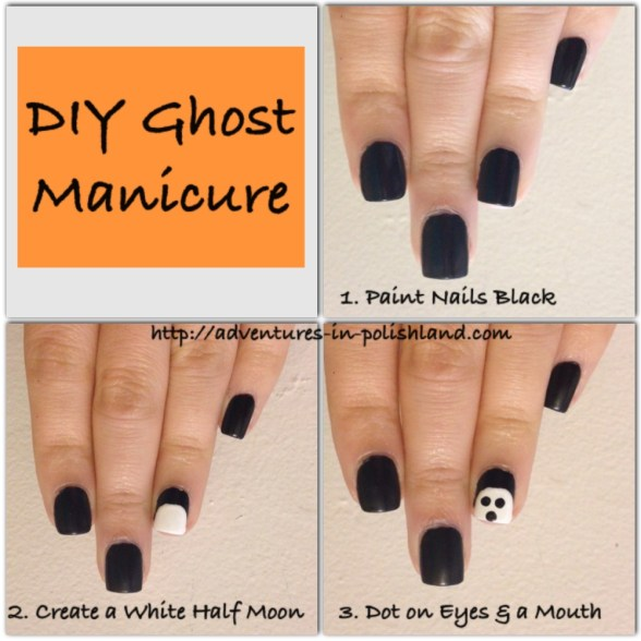 DIY Ghost Manicure | Adventures in Polishland