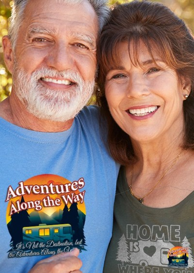 Couple wearing RV themed t-shirts