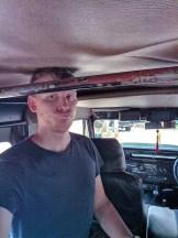 Olifanten Jeep Safari, met een hééél laag dakje ;-) (gelukkig ging het dak later open!)