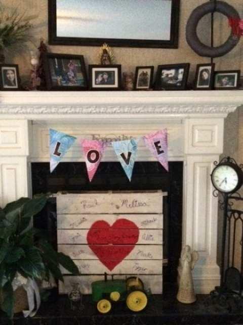 valentine's fireplace display